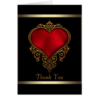 Black Gold Red Heart Thank You Cards
