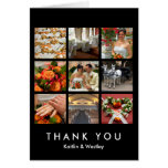 Black grid collage 9 photos memories thank you greeting card