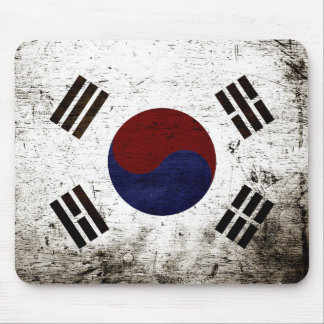 Black Grunge South Korea Flag Mouse Pad
