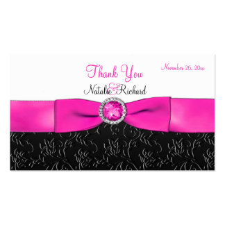 Black, Hot Pink, and White Wedding Favor Tag Business Card