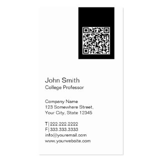 Black Label QR Code Professor Business Card