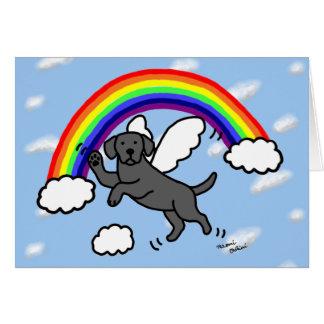 Black Labrador Guardian Angel (Rainbow Bridge) Greeting Card