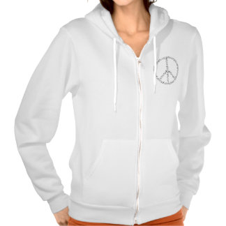 Black Musical Notes Round Peace Sign Hooded Pullover