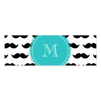 Black Mustache Pattern, Teal Monogram Mini Business Card