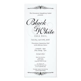 "Black on white gala ball dance corporate long 4"" x 9.25"" invitation card"