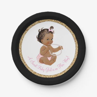 Black Pink Gold Pearl Ethnic Girl Baby Shower 7 Inch Paper Plate