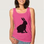 Black Rabbit Silhouette Easter Bunny Spaghetti Strap Tank Top