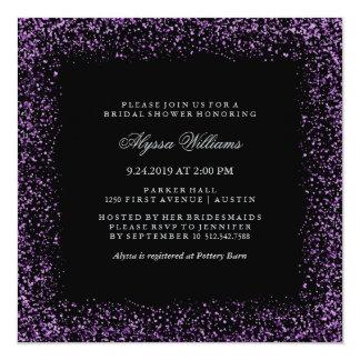 """Black Silver Purple Confetti Glam Bridal Shower 5.25"""" Square Invitation Card"""