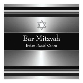 "Black Silver Star of David Bar Mitzvah 5.25"" Square Invitation Card"