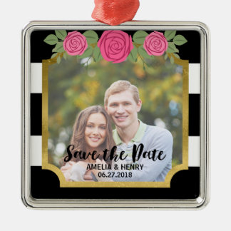 Black Stripes Faux Gold Floral Save the Date Photo Silver-Colored Square Ornament