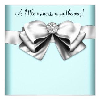 "Black Teal Blue Princess Baby Shower 5.25"" Square Invitation Card"