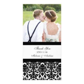 Black Thank You Wedding Photo Cards