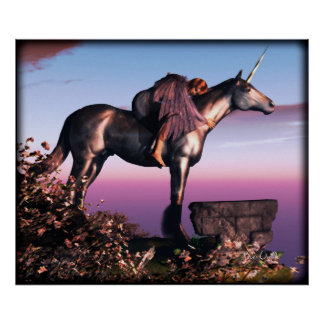 Black Unicorn Sunset Poster