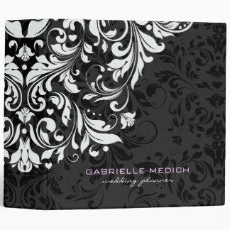 Black & White Floral Vintage Damasks Vinyl Binder