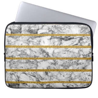 Black white marble gold glitter effect stripes laptop computer sleeve