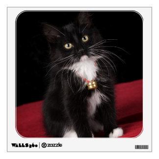 Black & white short-haired kitten,2 1/2 months wall decal
