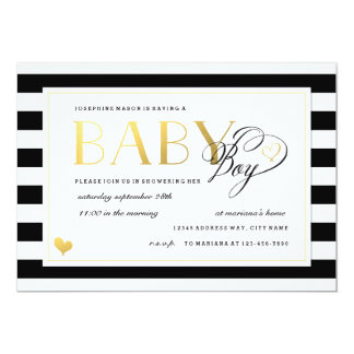 "Black & White Stripe Baby Boy Shower Gold Accents 5"" X 7"" Invitation Card"