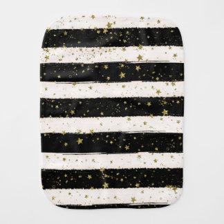 Black White Watercolor Stripes Gold Glitter Stars Baby Burp Cloths
