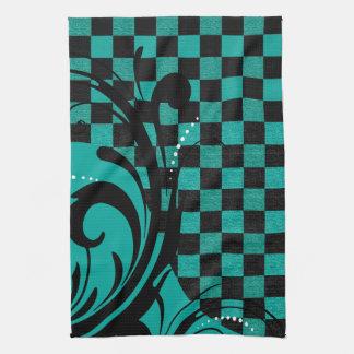 Bleu turquoise tourbillonnant Checkered du motif Serviette Éponge