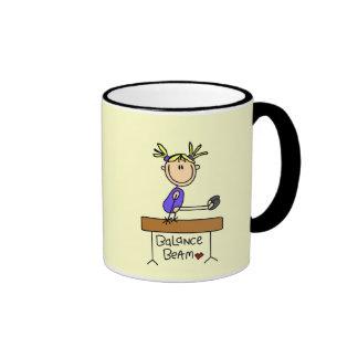 Blond Girl Gymnast on Beam Tshirts and Gifts Ringer Coffee Mug
