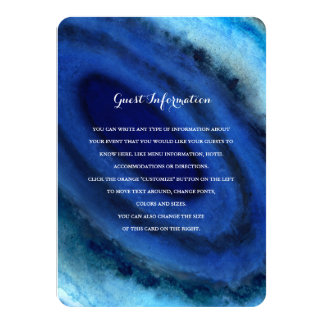 "Blue Agate Wedding Insert 4.5"" X 6.25"" Invitation Card"
