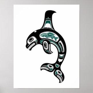 Blue and Black Haida Spirit Killer Whale Poster