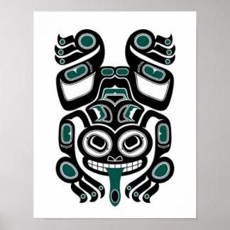 Blue and Black Haida Spirit Tree Frog Poster