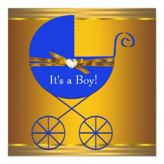 """Blue and Gold Carriage Boys Baby Shower 5.25"""" Square Invitation Card"""