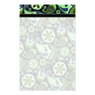 Blue and Green Paisley on Black Stationery