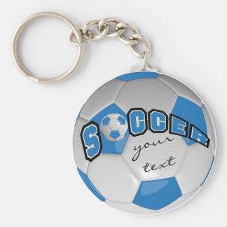 Blue and White Personalize Soccer Ball Basic Round Button Keychain