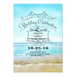 Blue Beach Wedding Announcement Invitations
