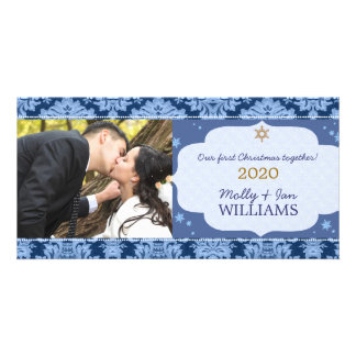 Blue Damask Couple's First Christmas Photo Picture Card