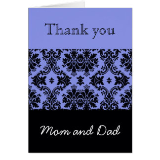 Blue Damask Wedding Thank You, Mom and Dad Greeting Card