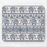 Blue Ethnic Elephant Pattern Mouse Pad