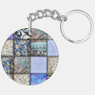 Blue Faux Patchwork Quilting Pattern Double-Sided Round Acrylic Keychain