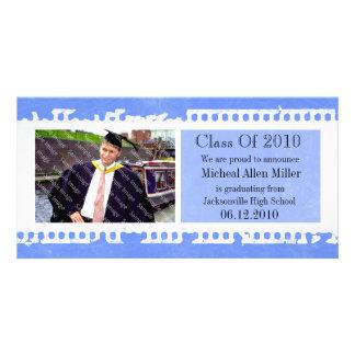Blue Film Grunge Graduation Photo Card