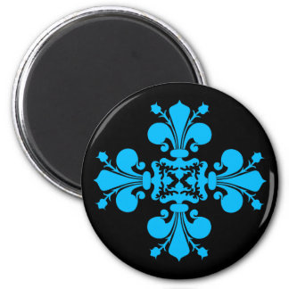 Blue fleur de lis damask motif on black 2 inch round magnet