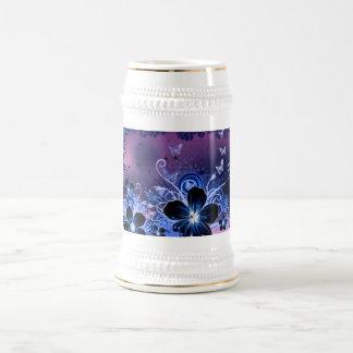 Blue Flower design 18 Oz Beer Stein