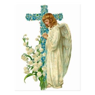 Blue Flowered Christian Cross Postcard