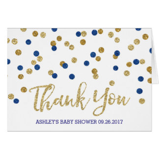 Blue Gold Confetti Baby Shower Thank You Greeting Card