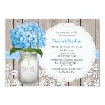 "Blue Hydrangea Monogrammed Mason Jar Bridal Shower 5"" X 7"" Invitation Card"