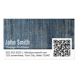 Blue Jeans QR Code Professor Business Card