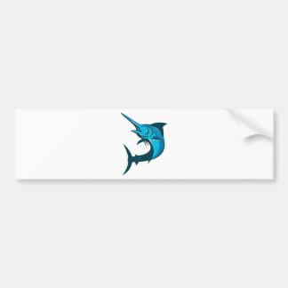 blue marlin fish jumping retro bumper sticker