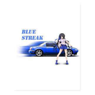 Blue Miata - with anime girl Postcard