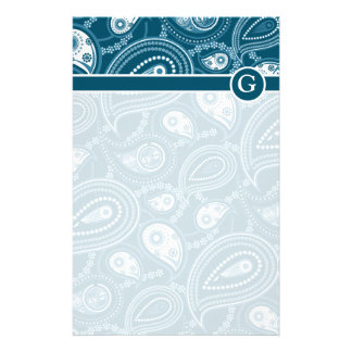 Blue Paisley Pattern Stationery