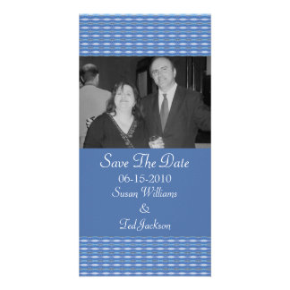 blue pattern Save the Date Personalized Photo Card