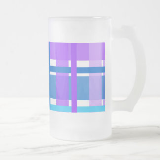 Blue & Purple Gingham Plaid 16 Oz Frosted Glass Beer Mug