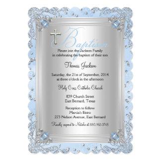 "Blue Sparkle Jewel Baptism Christening 2 5"" X 7"" Invitation Card"