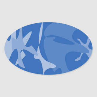 Blue spots oval sticker