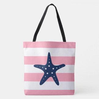 Blue Star Fish on Pink Stripes Tote Bag